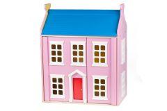 Maison de poupées rose en bois avec mobilier