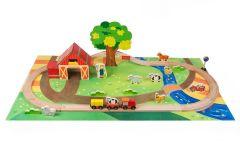 Set voiture et train en bois thème ferme  - 45 pièces