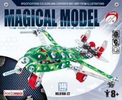 Avion chasseur en métal pour enfant - 146 pièces à assembler